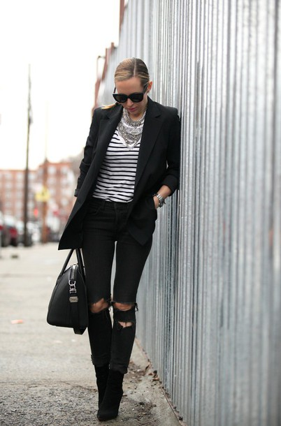 brooklyn blonde blogger boyish blazer black jacket stripes ripped jeans black bag black ripped jeans french girl style androgynous