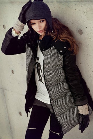 Fur Collar Leather Sleeves Stitching Warm Coat [SHWM00016] - PersunMall.com