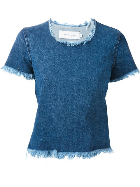 Marques Almeida Cap Sleeve Denim T-shirt - Start - Farfetch.com