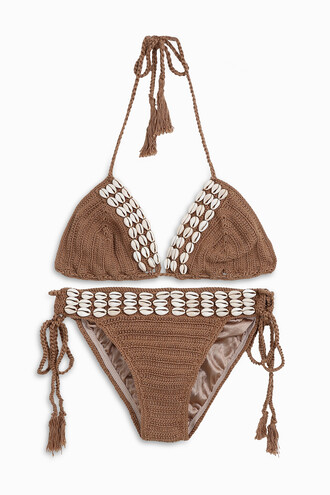 bikini women shell lace beige swimwear