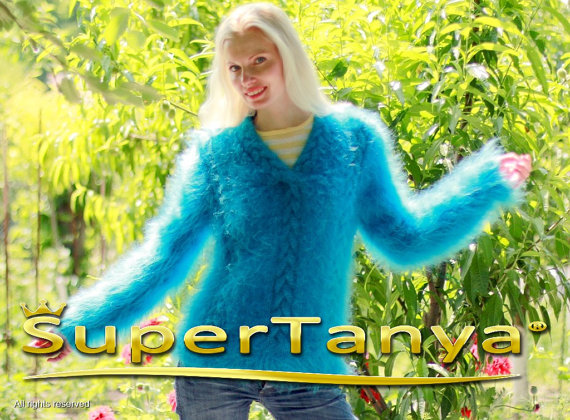 Thick hand knitted blue V neck mohair sweater with by supertanya