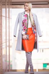 my blonde gal,blogger,orange,leather skirt,suede boots,grey boots,grey coat,skirt,bag,jacket,jewels,shoes,coat,orange leather skirt,elegant