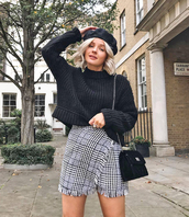 sweater,tumblr,knit,knitwear,knitted sweater,skirt,mini skirt,plaid skirt,grey skirt,wrap skirt,bag,black bag,beret