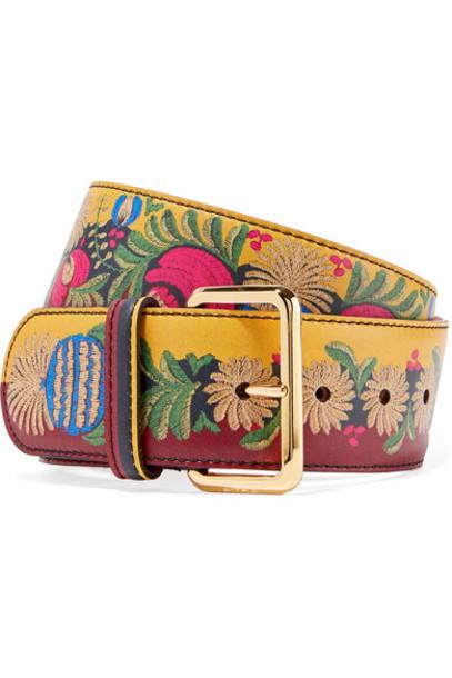 Etro - Printed Leather Waist Belt - Yellow