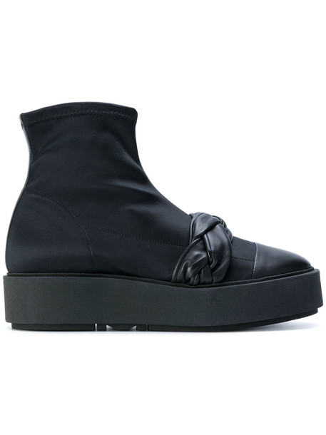 Morobé sneakers. women spandex braided sneakers leather black shoes