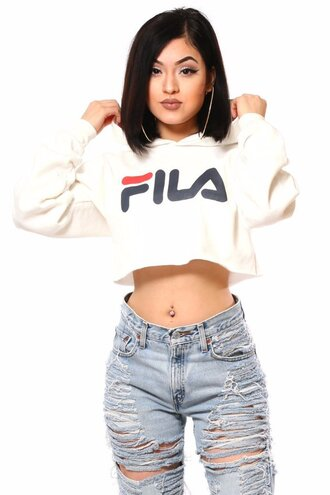 top fila white sweater