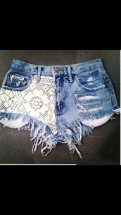 shorts,light blue,white lace shorts,denim shorts,ripped shorts,semi-faded