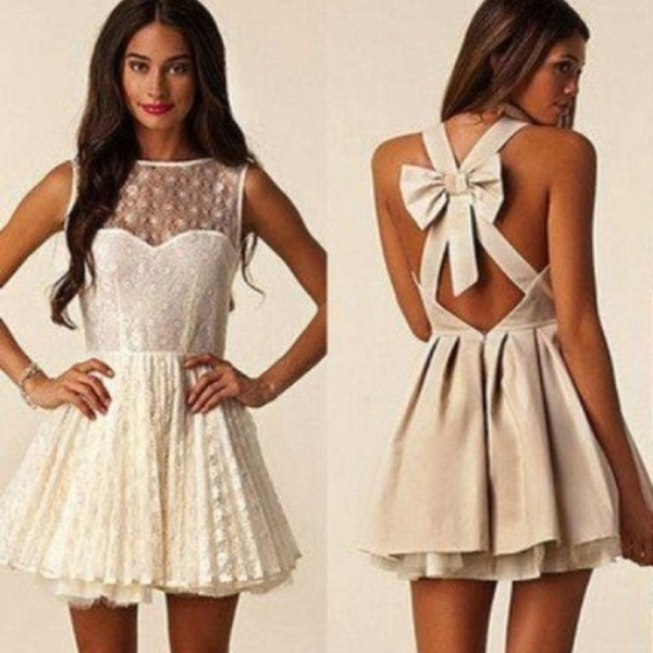 dress lace nude bow Bow Back Dress sleeveless mesh part lace <3 short dress bow dress amazing white white dress brown lace dress white backless bow now dress cream beautiful pretty weheartit cute dress prom dress ??? back cute bows cream off-white cream bow dress jewels fancy