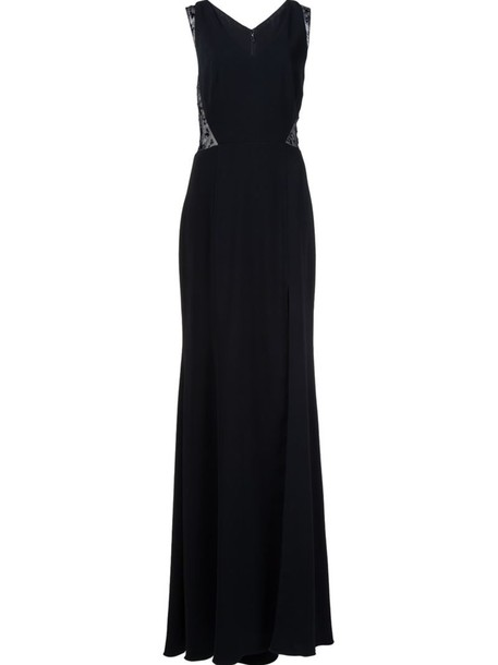 Marchesa Notte gown women lace black silk dress