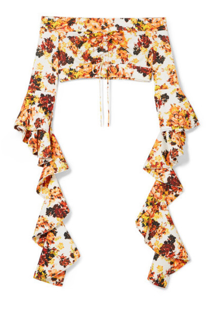 ellery top high floral print orange