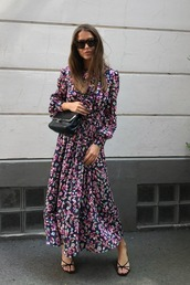 dress,maxi dress,floral dress,long sleeve dress,long sleeves