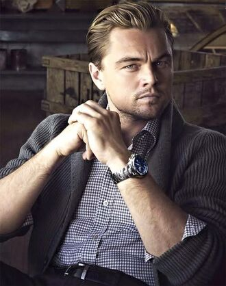 shirt menswear actor mens shirt blue shirt leonardo dicaprio mens cardigan