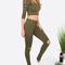 Army green long sleeve hooded t-shirt with cutout pants -shein(sheinside)