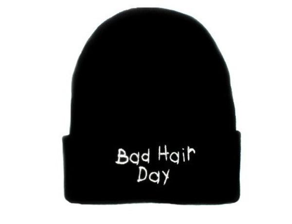 hat beanie bad hair day black white hair