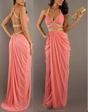 coral,rhinestones,sparkle,long,chiffon,evening dress,appliques,prom dress,maxi dress,backless dress,backless prom dress
