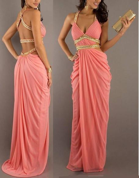 prom dress maxi dress long backless dress sparkle rhinestone coral chiffon evening dress appliques backless prom dress