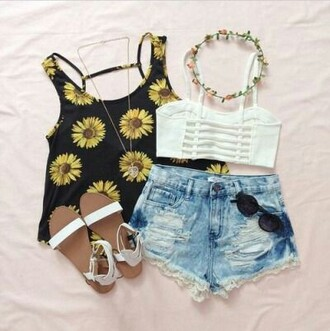 tank top sun flower yellow black top blouse