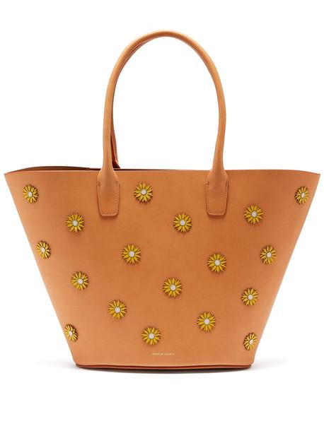 MANSUR GAVRIEL Sunflower-embellished leather tote bag in tan / multi