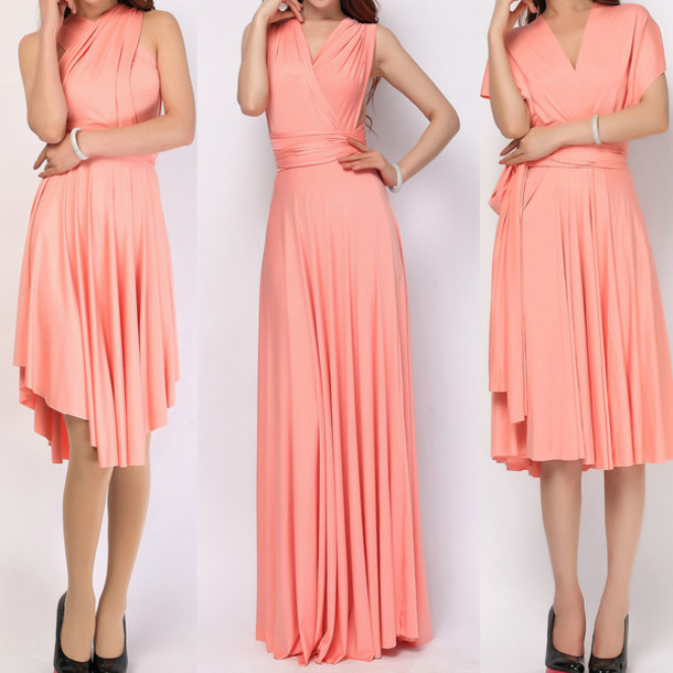 5d02a9bff1c dress light coral infinity dress convertible dress bridesmaid short infinity  dress long convertible dress triangle convertible