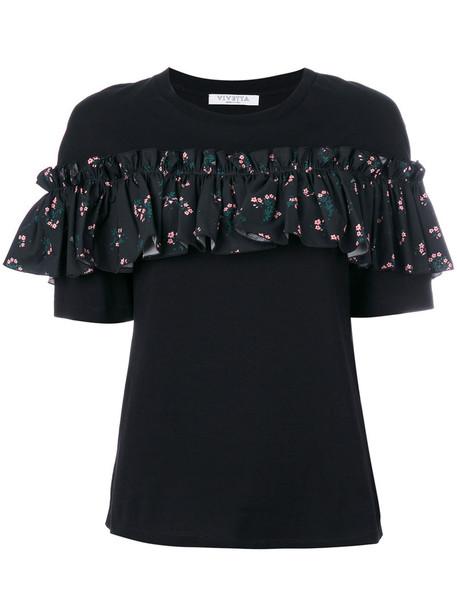 Vivetta - ruffled T-shirt - women - Cotton - 42, Black, Cotton