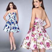 dress,la femme,cocktail,cocktail dress,homecoming dress,homecoming,pink dress,floral dress,birthday dress,strapless,sweet sixteen