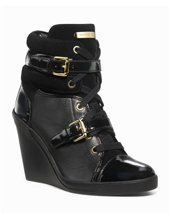 MICHAEL Michael Kors Skid Leather Wedge Bootie, Black - Michael Kors