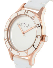 jewels,marc jacobs,watch,rose gold,white,leather,marc by marc jacobs