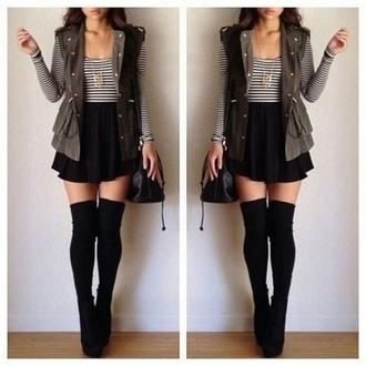 jacket clothes ootd shirt skirt shoes socks striped shirt long sleeves