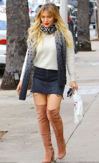skirt sweater streetstyle mini skirt hilary duff over the knee boots fall outfits denim skirt shoes