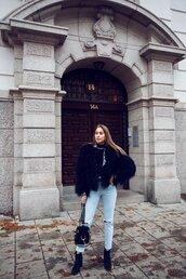 kenza,blogger,sweater,jeans,jacket,belt,top,shoes,fur coat,ankle boots,bag,black fur jacket