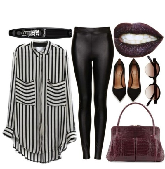bag blouse stripes high heels burgundy