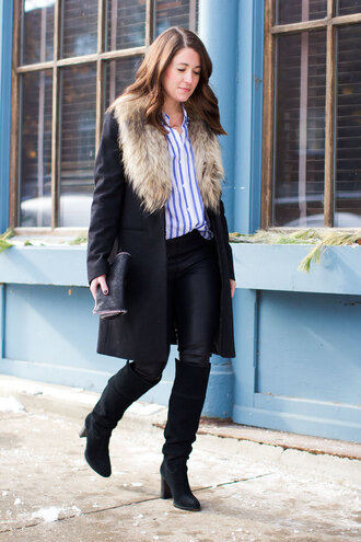sequins and stripes blogger black boots striped shirt winter coat