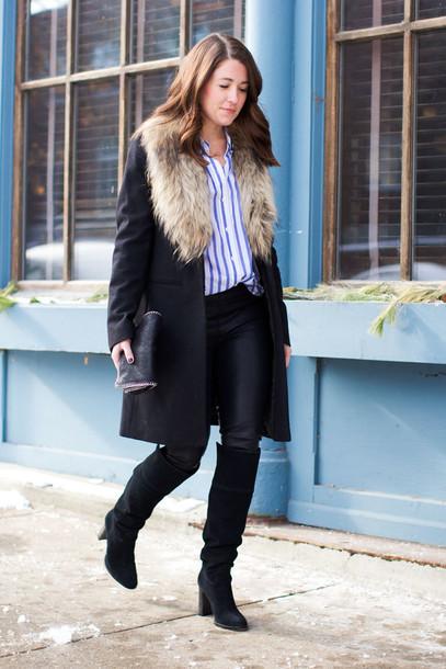 sequins and stripes blogger black boots striped shirt winter coat coat shirt leggings shoes bag jewels