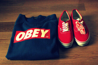 sweater jumper navy obey red swag dark blue white blue logo shirt clothes vans black long sleeves shoes obey sweatshirt red vans