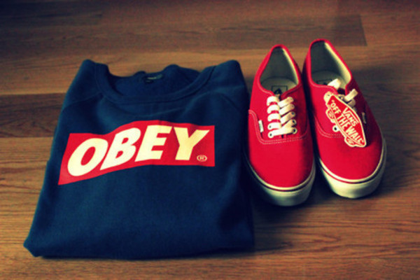 sweater jumper navy obey red outfit shirt obey clothes vans swag dark blue white blue logo black long sleeves shoes obey sweatshirt red vans