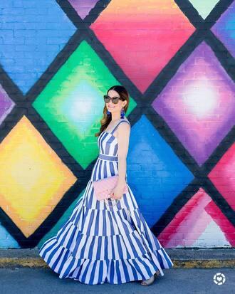 dress tumblr maxi dress blue dress striped dress stripes bag pink bag sunglasses earrings jewels