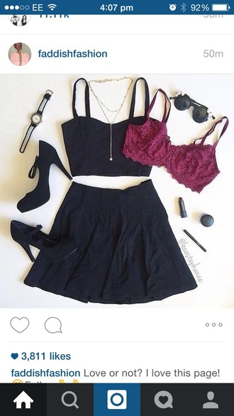 shoes black crop tops skirt high heels red bralette