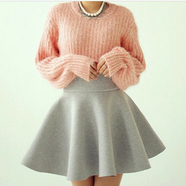 skater skirt skater girl skirt pullover jumper sweater skirt grey grey pink sweater pink fuzzy large sweater