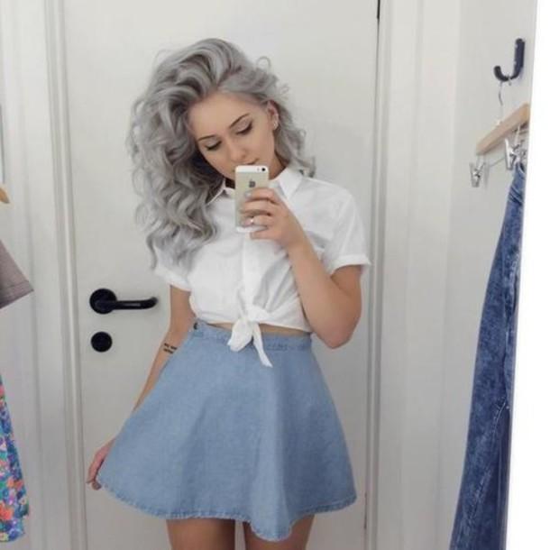 blouse denim skirt curly hair white shirt hairstyles skirt white crop tops blue skirt jeans hair accessory blueskirt blue white cute outfit skirtandblouse jeans short pink skirt skater dress