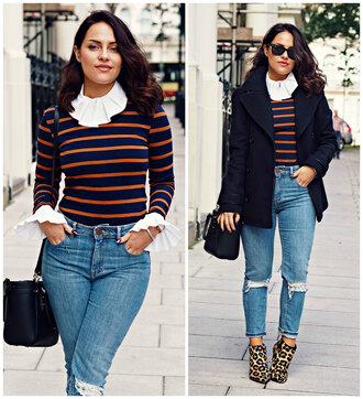 the little magpie blogger collar striped sweater ripped jeans leopard print high heels pea coat
