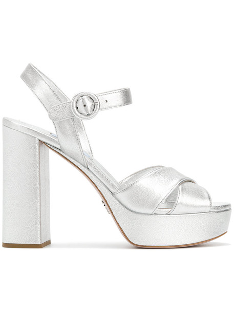 Prada women sandals platform sandals leather grey metallic shoes