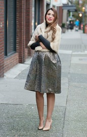 gumboot glam,blogger,skirt,sweater,shoes,fur jacket,silver skirt,nude heels,high heel pumps,midi dress,beige fur jacket