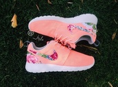 shoes,roshe runs,nike,floral print shoes,nike roshe run,roche,peach,floral roshe,pink flower nikes,pink,flowers,dress,black,blue,denim,funny,love,nike running shoes,style,blouse,trouser,abercrombie & fitch,floral