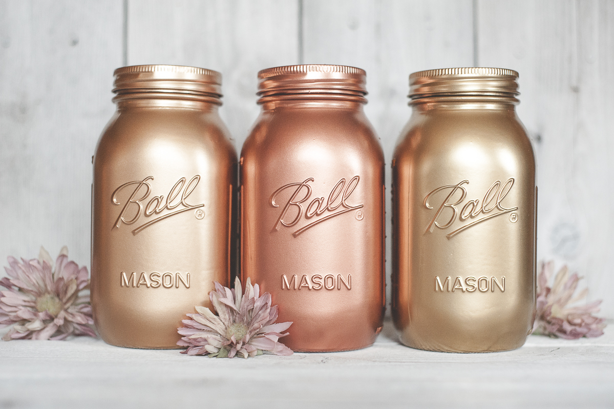 Rose Gold Copper and Gold Painted Mason Jar Decor