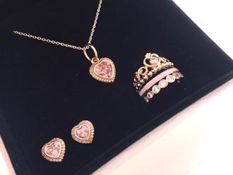 jewels pandora pink diamond earrings necklace ring set