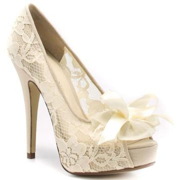 whitney shoes pumps lace pumps ivory