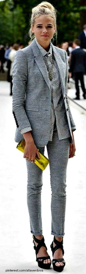 jacket suit grey wedges clutch streetstyle skinny pants jeans office outfits business casual luxury