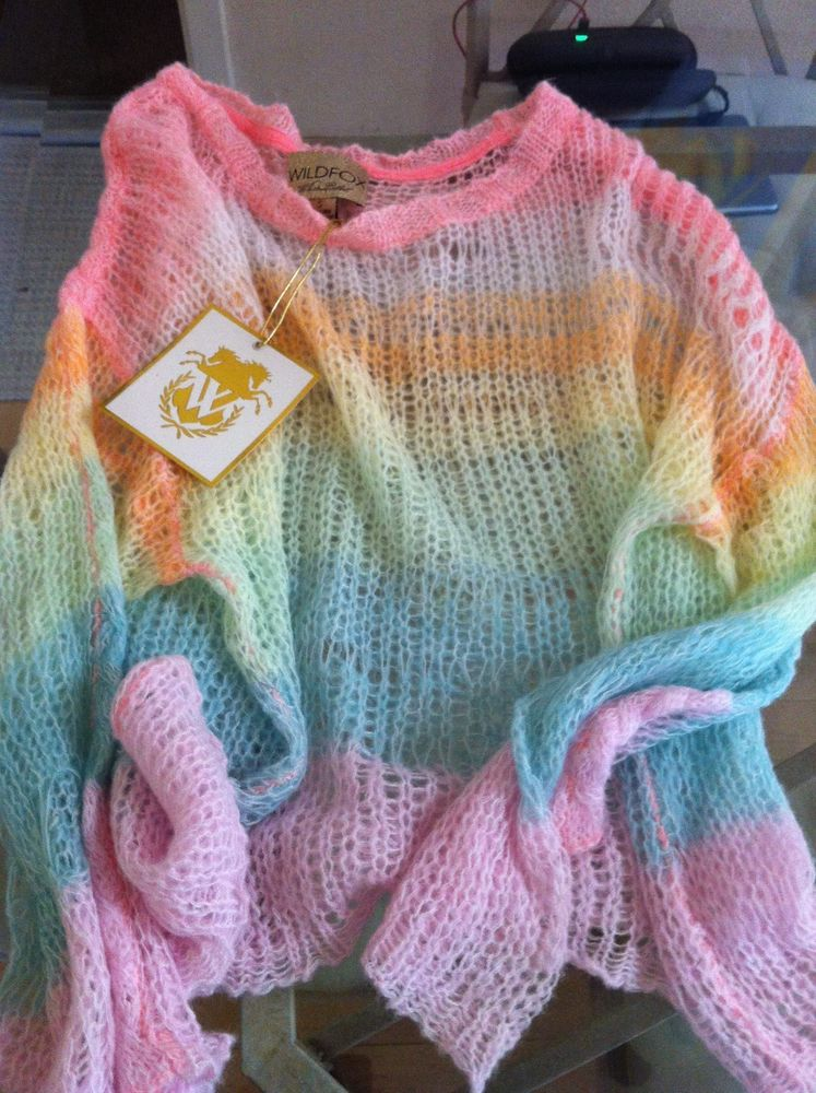 Wildfox Couture White Label Rainbow Ski Bunny Lost Sweater In Multi-Color ,(S)