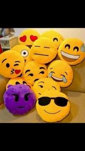 icon pillow,emoji pillow,cute,home accessory,emoji print,pillow,cardigan,bag,smiley,make-up