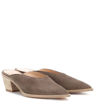 mules suede grey shoes